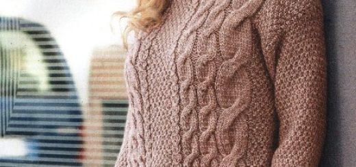 Вяжем свитер с узором 'глазки'